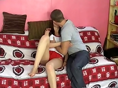Sexy darling is gratifying two very hungry male rods