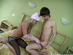 Horny legal age teenager golden-haired wearing a white cap is getting hammered