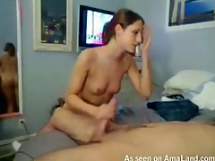 Girlie is performing worthwhile fellatio after being fucked well