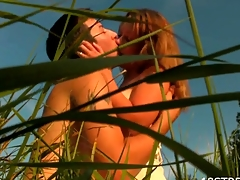 Check out our seductive redhead beauty getting fucked outdoors