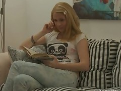 Cute cutie in a panda shirt legs widen pussy licked