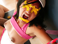 Hawt youthful floozy Maya sucks at table tennis and that chick ends up paying for her poor performance! This barely legal horny wench is taped up, bound down, gagged and ruthlessly fucked until that chick cums for us! Her hot legal age teenager twat is Trickling wet and gets a good pounding, but dont worry, we remove the gag lengthy sufficiently to give her a good throatfucking too! At least we found out what that chick IS good at - taking cock!