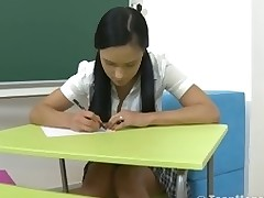 Big titty teen with a short petticoat is screwed in her classroom